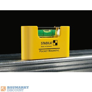 Stabila Mini Wasserwaage Pocket Magnetic mit Gürtelclip