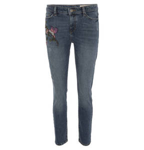 ESPRIT             Jeans, Slim Fit, florale Stickerei, Destroyed Look, für Damen
