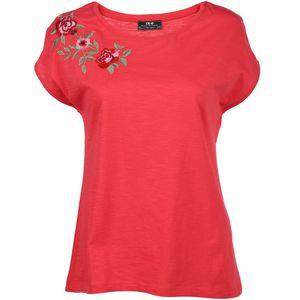 Damen T-Shirt mit Blumenstickerei