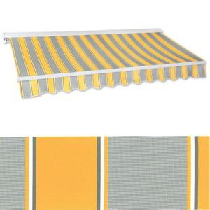 Kassetten-Markise 5,0 x 3,0 m gelb-grau (Profilfarbe: Weiß)