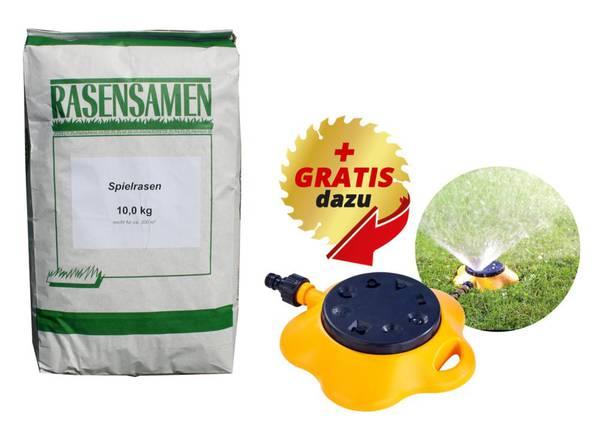Sport und Spiel Rasensamen - 10 kg für ca. 300 m² Gratis dazu Flächenregner 8 Varianten GartenMeister