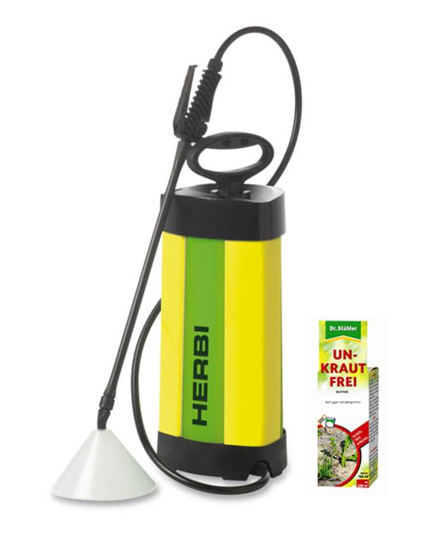 Drucksprüher Herbi, 5 l mit Sprühschirm und Unkraut Frei Glyfos, 100 ml Mesto