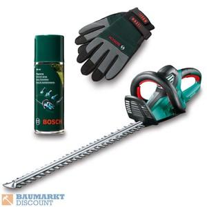Bosch Heckenschere AHS 70-34 + Pflegespray & Handschuhe