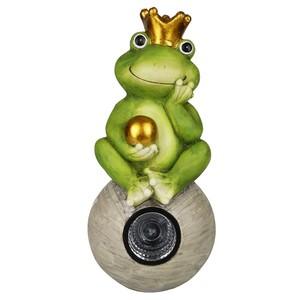 Deko-Figur Froschkönig mit Solar