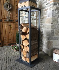 Grasekamp Kaminholzregal 33x33x115cm Kamin Holzofen Holzregal Regal - Stahl