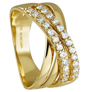 Moncara             Diamant-Ring 585 Gelbgold mit 24 Diamanten, zus. 0,50 ct.