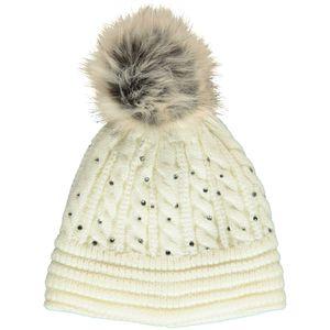 Damen Mütze mit Bommel und Strass