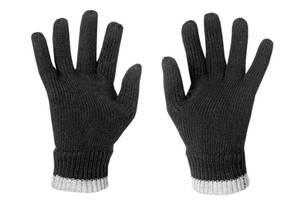 Strick Handschuhe mit weichem Fleece gefüttert, Farbe schwarz mit grauen Bündchen, Gr.9
