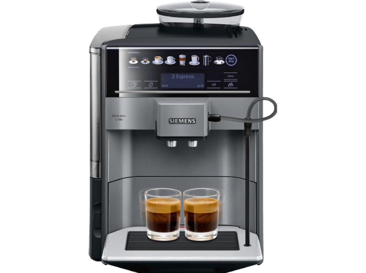 Bild 1 von SIEMENS TE 651509 DE EQ.6 Plus S100, Kaffeevollautomat, 1.7 Liter Wassertank, 15 bar, Keramikmahlwerk, Schwarz/Titanium metallic