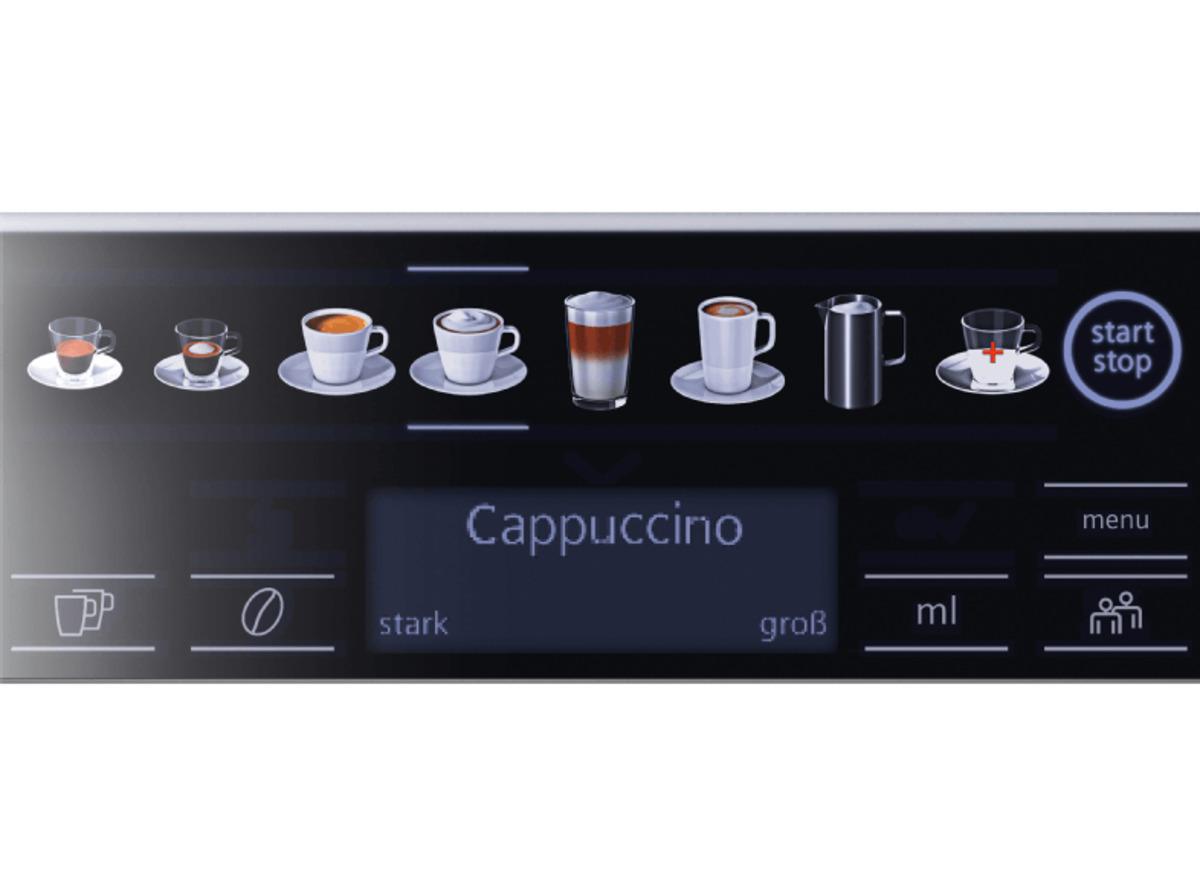 Bild 4 von SIEMENS TE 651509 DE EQ.6 Plus S100, Kaffeevollautomat, 1.7 Liter Wassertank, 15 bar, Keramikmahlwerk, Schwarz/Titanium metallic