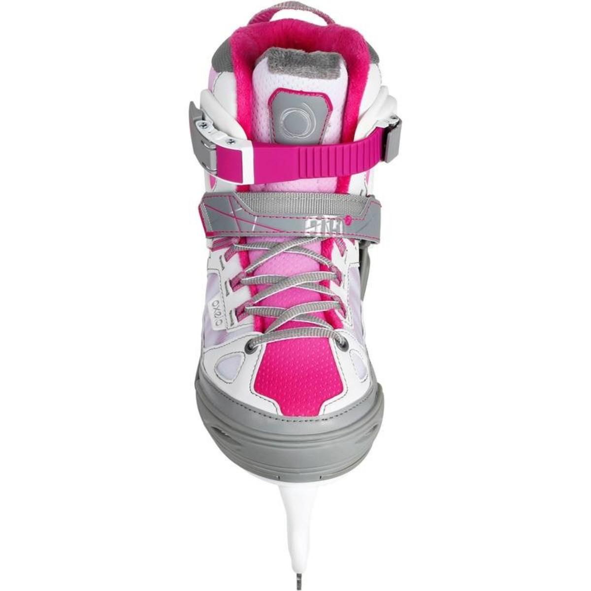 Bild 5 von OXELO Schlittschuhe Fit 5 Girl Kinder größenverstellbar weiß/pink, Größe: 29/32