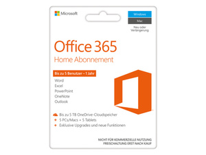 Microsoft Office 365 Home, 1-Jahres-Software-Abo, Product Key Card