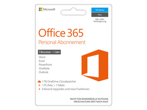 Microsoft Office 365 Personal, 1-Jahres-Software-Abo, Product Key Card