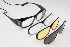 Überbrille mit drei Wechselrahmen, 100% UV-400 Schutz, polarisiert, vergrößert 200%