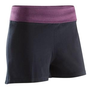 DOMYOS Sporthose kurz Yoga 100 Damen schwarz/bordeaux meliert, Größe: S