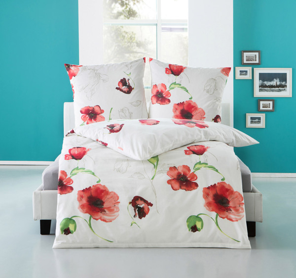 dreamtex renforce bettw sche 135x200cm schwarz wei flowers red von norma f r 12 99 ansehen. Black Bedroom Furniture Sets. Home Design Ideas