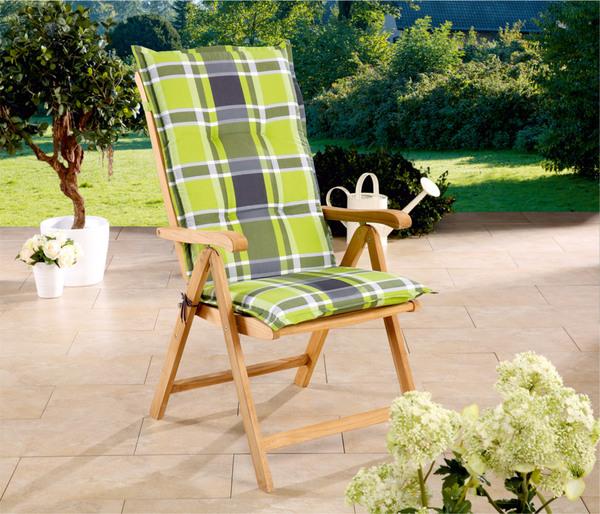Solax sunshine hochlehner karo hellgr n grau 2er set von for Gartenauflagen hochlehner