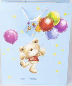 Geschenktasche Bär mit Ballons blau