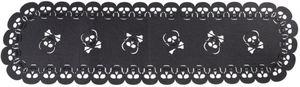 Tischläufer - Totenköpfe - 110 x 30 cm - schwarz