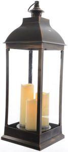 Laterne - aus Kunststoff - mit 3 LED-Kerzen - ca. 24 x 24 x 70 cm