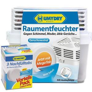 Humydry Raumentfeuchter Premium + 3 Nachfüll Tabs a 500 Gramm
