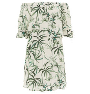 ESPRIT             Midikleid, Tropical Design, Off-Shoulder, Volants