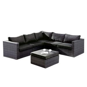 Sitzgruppe Aruba (6-teilig) - Webstoff / Kunststoff - Anthrazit, Best Freizeitmöbel