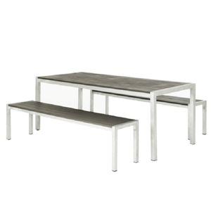 Komplett-Set Seattle - 1 Tisch, 2 Bänke - Aluminium/Aluminium-Belattung - Silber/Anthrazit, Best Freizeitmöbel