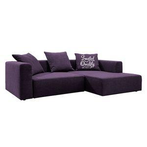 Ecksofa Heaven Casual XL Webstoff - Longchair/Ottomane davorstehend rechts - Mit Schlaffunktion - Violett, Tom Tailor