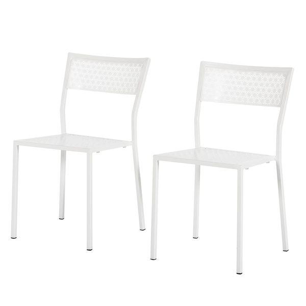Gartenstuhl Pini (2er-Set) - Metall Weiß, Fredriks von home24 für ...