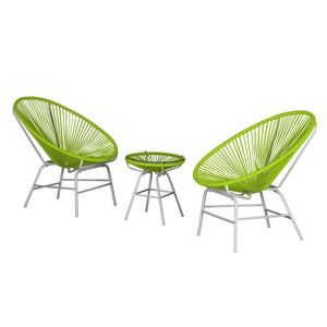 Sitzgruppe Copacabana I (3-teilig) - Kunststoff - Grün / Weiß, Fredriks