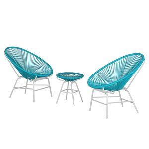 Sitzgruppe Copacabana IV (3-teilig) - Kunststoff / Metall - Türkis / Weiß, Fredriks