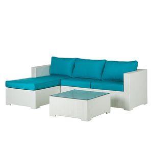 Lounge Sitzgruppe Paradise Lounge (3-teilig) - Polyrattan / Textil - Weiß / Türkis, Fredriks