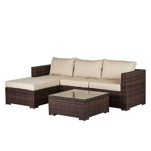 Lounge Set Paradise Lounge (inkl. Tisch) - Polyrattan/Stoff - Braun/Beige, Fredriks
