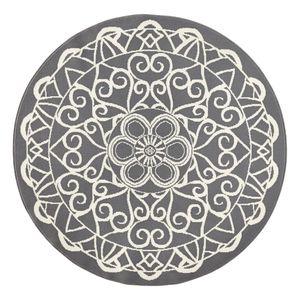Teppich Mandala - Kunstfaser - Grau, Zala Living