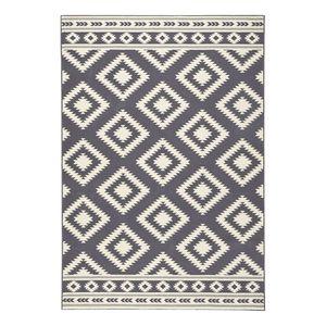 Teppich Ethno - Kunstfaser - Grau / Creme - 80 x 150 cm, Top Square