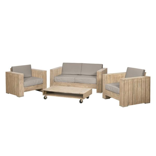 Sitzgruppe Halmstad (4-teilig) - Webstoff / Akazie massiv - Beige / Akazie, Siena Garden