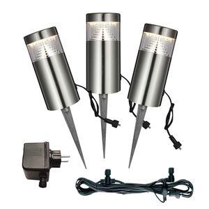 EEK A+, LED-Außenleuchte Poggy II - Kunststoff / Edelstahl - 3-flammig, Globo Lighting