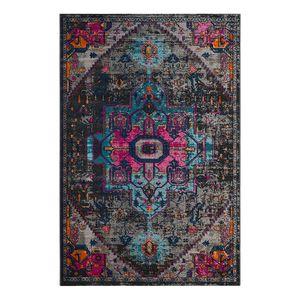 Teppich Alroy - Mischgewebe - Grau / Pink - 154 x 228 cm, Safavieh