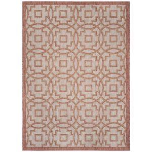 In & Outdoor Teppich Jade - Kunstfaser - Cappucino / Rot - 200 x 289 cm, Safavieh