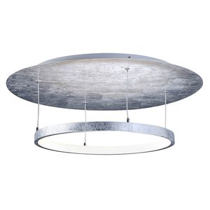 EEK A+, LED-Deckenleuchte Nevis Leaf II - Kunststoff / Stahl - 1-flammig - Weiß / Silber, Paul Neuhaus
