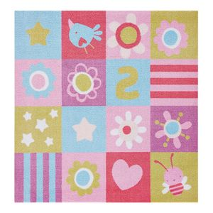 Kinderteppich Flower Patchwork - Kunstfaser - Rosa, Zala Living