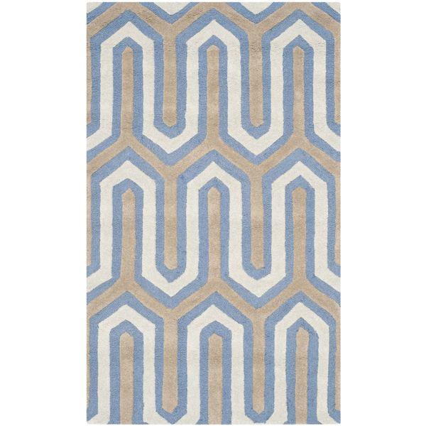 Teppich Leta Handgetuftet Wolle Weiss Dunkelblau 91 X 152 Cm