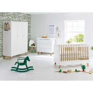 Babyzimmerset Pan Kids (3-teilig) - Weiß / Eiche - 145 cm (3-türig), Pinolino