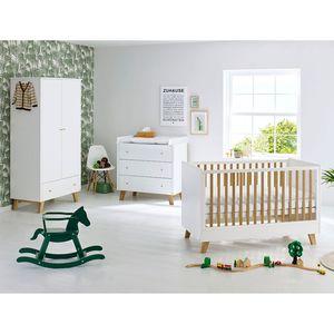 Babyzimmerset Pan Kids (3-teilig) - Weiß / Eiche - 100 cm (2-türig), Pinolino