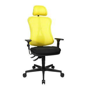 Bürodrehstuhl Head Point - Höhenverstellbare Armlehnen - Mit Kopfstütze - Gelb / Schwarz, Topstar