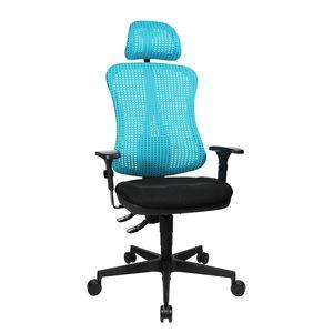 Bürodrehstuhl Head Point - Höhenverstellbare Armlehnen - Mit Kopfstütze - Hellblau / Schwarz, Topstar