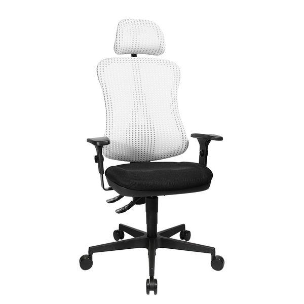 Bürodrehstuhl Head Point - Höhenverstellbare Armlehnen - Mit Kopfstütze - Weiß / Schwarz, Topstar