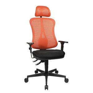 Bürodrehstuhl Head Point - Höhenverstellbare Armlehnen - Mit Kopfstütze - Rot / Schwarz, Topstar