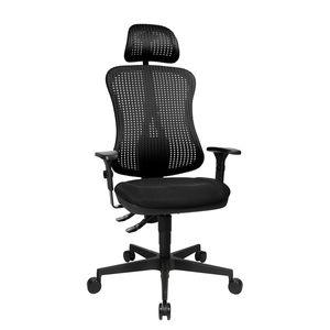 Bürodrehstuhl Head Point - Höhenverstellbare Armlehnen - Mit Kopfstütze - Schwarz, Topstar